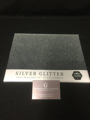 Beautiful silver glitter and mirror ombre placemats set of two