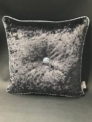 Glitter pipe Leopard black and white - black crushed velvet scatter cushion