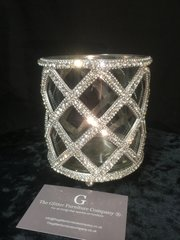 glass and crystal tealight holder - make up brush holder- large