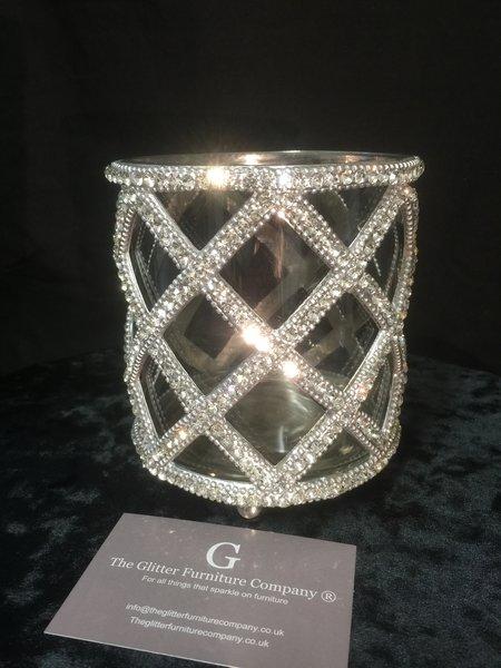 Glass And Crystal Tealight Holder Make Up Brush Holder