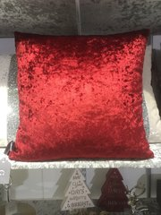 Stunning plain red crushed velvet scatter cushion