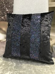 Beautiful Ava Black crushed velvet - Petrol glitter scatter cushion