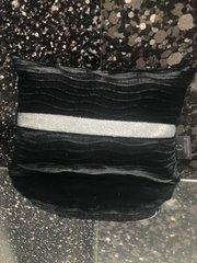 Black wave velvet with silver disco glitter scatter cushion