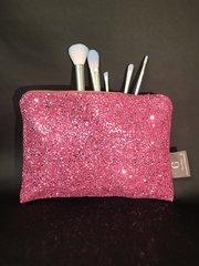 Stunning pink glitter Makeup bag - velvet lined