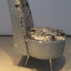 Designer Luxury Silver crushed velvet with silver glitter sky chair
