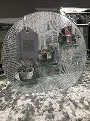Round mirror glitter triple tea light holder candle holder