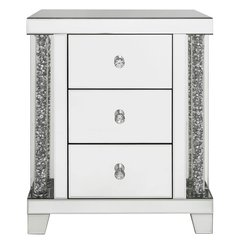 Stunning Magna 3 drawer mirror and crystal Bedside Cabinet