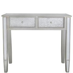 Beautiful Mosaic and mirror with champaign wood console table