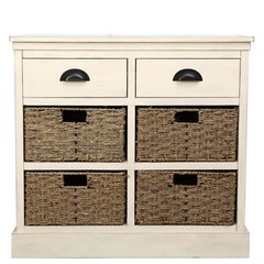 Beautiful shabby Chic natural finish 2 drawer and 4 basket set
