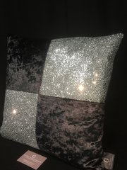Beautiful Mia black crushed velvet with silver glitter scatter cushion