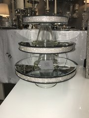 Beautiful sparkle glitz candle plate/ cake stand on pedestal - size options