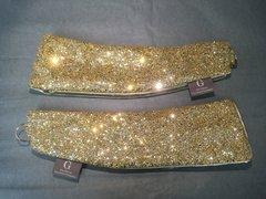 Stunning gold glitter and gold chartreuse velvet curtain tiebacks