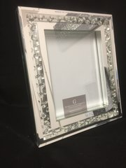 Beautiful floating crystal and mirror photo frame - 8x10