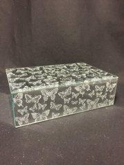 Beautiful mirror and silver glitter butterfly jewellery box - medium