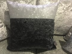 Beautiful Topbar black crushed velvet with silver disco glitter scatter cushion