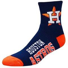 Houston Astros Navy For Bare Feet MLB Logo Quarter Socks