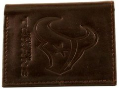 Houston Texans Embossed Tri-Fold Leather Wallet Brown