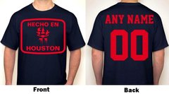 Hecho En Houston Any Name & Number Logo Personalized Houston Football Fan T-Shirt Red / Navy