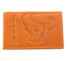 Houston Texans Siskiyou Embossed Tri-Fold Leather Wallets Tan