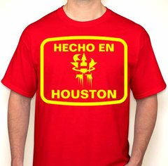 Hecho En Houston Red & Yellow Houston Basketball Fan T-Shirt