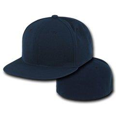 Plain Fitted Flat Bill Blank Baseball Cap Solid Navy Blue