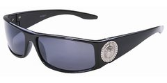 Lion Head Medallion Black Sunglasses
