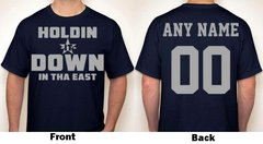 Holdin It Down In Tha East Any Name & Number Logo Personalized Football Fan T-Shirt Grey / Navy Blue