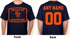 Hecho En Houston Any Name & Number Logo Personalized Houston Baseball Fan T-Shirt Orange / Navy