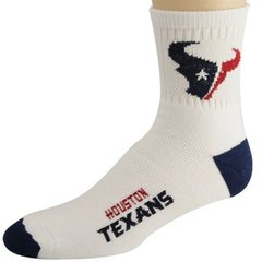 Houston Texans Team Logo Quarter Length For Bare Feet Socks - White