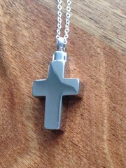 "CROSS STAINLESS STEEL ASHES PENDANT ON 18"" SILVER PLATED CHAIN £10 TO CLEAR"