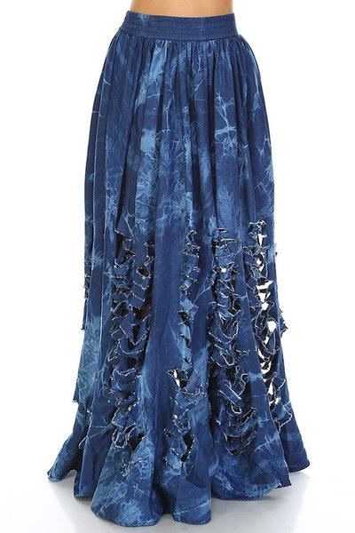 Denim Distressed Maxi Skirt | Fashion Remix Boutique