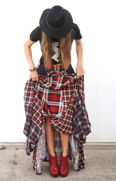 Plaid Denim Maxi Skirt | Fashion Remix Boutique