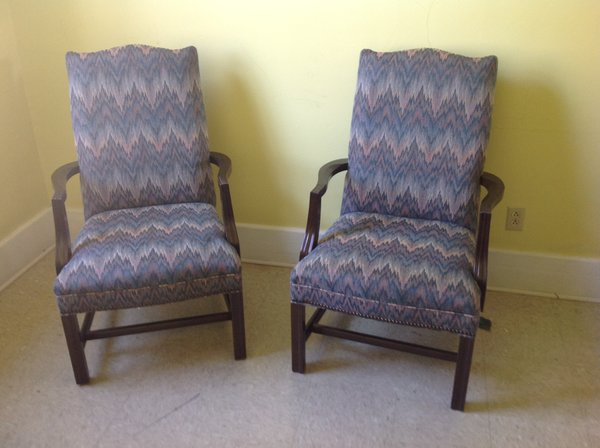 Blue Side Chairs with arms (matching pair)
