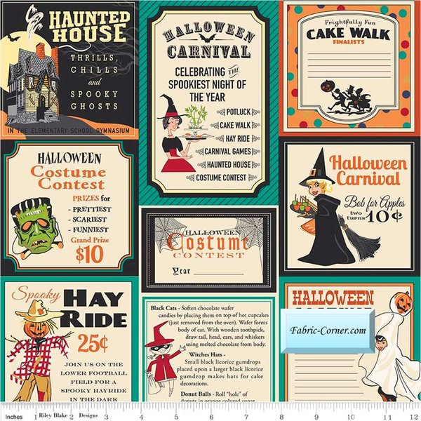 Trick Or Treat Vintage Halloween Cards Teal By Carta Bella For Penny Rose Fabrics Price Per 1 2 Yd