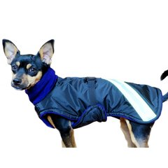 Winter Dog Coat with Tummy Panel, Turtleneck and Reflective Strips