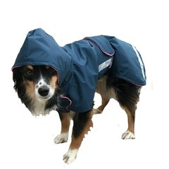 Dog Raincoat with Tummy Panel, Hood and Reflective Strips