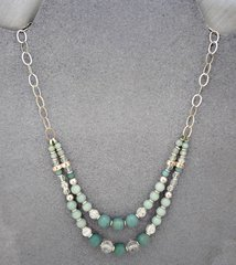 Amazonite, Quartz Crystal and Sterling Silver Necklace
