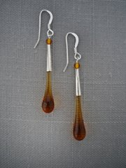 Handcrafted Glass Bead Tear Drop Earrings in Amber