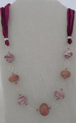 Handcrafted Glass Bead  Necklace with Silk