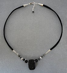 Lava Rock, Obsidian and Sterling Silver Necklace