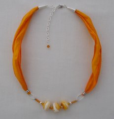 Handcrafted Glass Beads with Amber, Silk and Sterling Silver