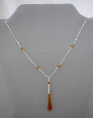 Handcrafted Glass Bead Tear Drop  Necklace in Amber