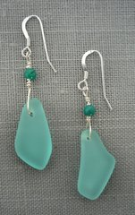 Beach Glass Earrings in Turquoise-Medium