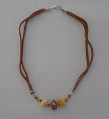 Handcrafted Glass Beads with Amber and Leather