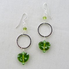 Handcrafted Heart Shaped Glass Bead with Sterling Silver Earrings
