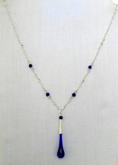 Handcrafted Glass Bead Tear Drop Necklace in Blue