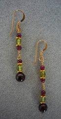 Peridot and Garnet Earrings - Long