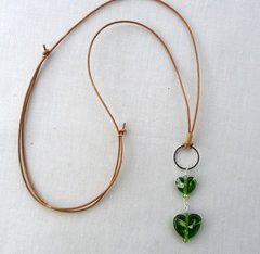 Handcrafted Heart Shaped Glass Beads on Leather