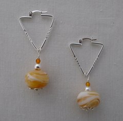 Handcrafted Glass Beads with Amber and Sterling Silver Earrings