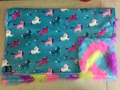 Unicorn/Rainbow Fleece & Faux Fur Blanket